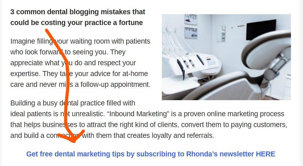 Inline CTA example for profitable websites